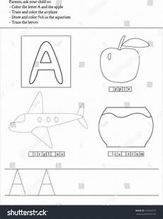 letter a tracing worksheets for preschool 23564 trace and color letter a worksheet for preschoolers stock vector illustration 131926973