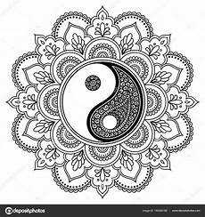 vector henna tatoo mandala yin yang decorative symbol