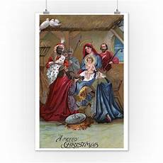 a merry christmas nativity vintage holiday art 12x18 art print wall decor travel