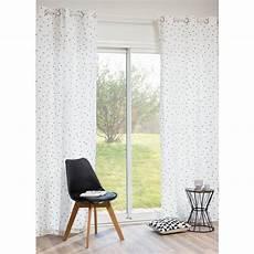rideau motifs triangles en coton blanc 250 x 105 cm
