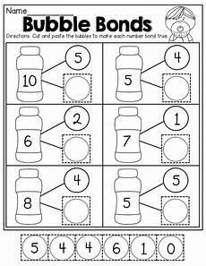 number bonds cut and paste kindergarten math worksheets kindergarten worksheets