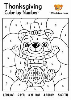 free color by number thanksgiving worksheets 16261 free thanksgiving printables 123 apps