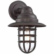 marlowe bronze 13 1 4 quot h hooded metal cage outdoor wall light 8f957 lsplus com