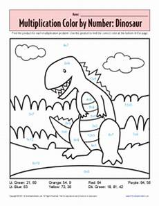 multiplication color by number printable worksheets free 16318 coloring pages multiplication color by number worksheet dinosaur free printable color by