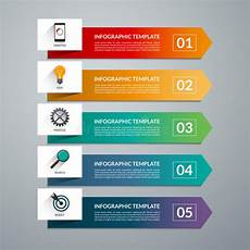 arrow design elements for business infographics 5 options steps parts stock vector