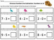 worksheets for 18166 dinosaur number line addition subtraction within 10 math addition homeschool math math
