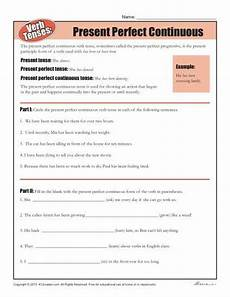 verb tense worksheets present perfect continuous