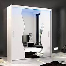 Armoire Blanche 2 Portes Coulissantes Avec Miroir Et Led