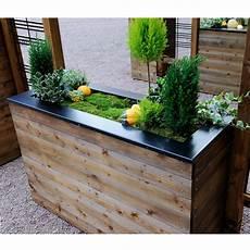 bac à fleurs bac 224 fleurs muret bois trait 233 autoclave acier l120 h76 cm