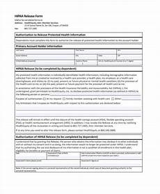 free 7 hipaa release form in sle exle format