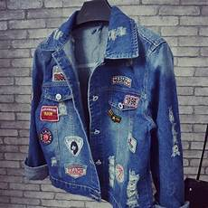 holes denim jacket 2016 winter new coats trend patch chaquetas mujer