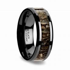 beveled dinosaur bone inlay men s wedding ring in black