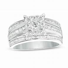 1 1 2 ct t w diamond square frame multi row engagement ring in 14k white gold