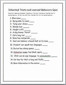inherited traits and learned behaviors quiz by miss minions tpt