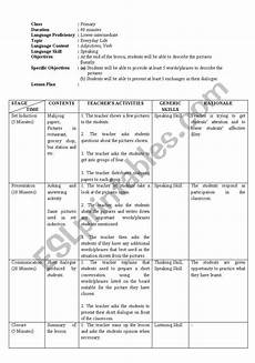 lesson plan for adjectives esl worksheet by allyshea