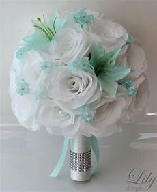 17pcs wedding bridal bouquet silk flower decoration