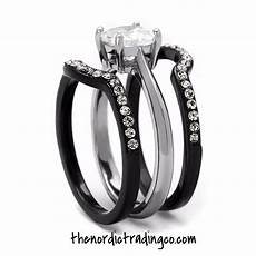 his hers engagement wedding ring black silver