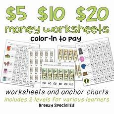 money worksheets special education 2325 money math 5 10 and 20 color in worksheets for special ed tpt