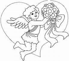 malvorlagen engel liebe engel mit blumenstrauss ausmalbild malvorlage