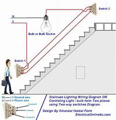 how to control a l light bulb from two places using two way switches for staircase lighting