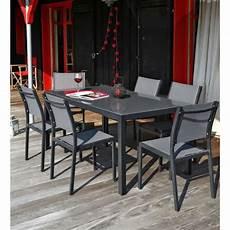 table et chaise de jardin solde ensemble table de jardin 180 6 chaises aluminium gris