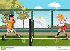 Kids Playing Tennis Stock Vector Illustration Of Exercise