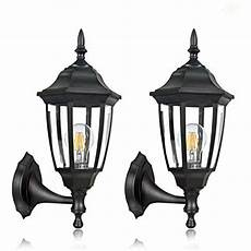 fudesy 2 outdoor wall lanterns corded electric 12w plastic led exterior wall lights
