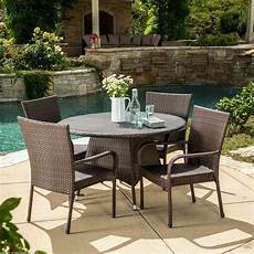 outdoor dining furniture outdoor patio 5pc multibrown all weather wicker dining set