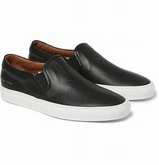 common projects perforated leather slip on sneakers in