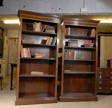 pair regency open front bookcases mahogany bookcase shelf