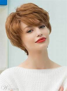 mishair 174 graceful short feathered pixie haircut with wispy bangs human hair blend capless wigs