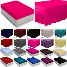 plain dyed fitted flat valance sheet bed sheet all sizes colours ebay