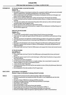 resume it team leader it team leader resume sles velvet