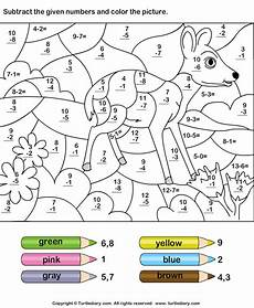 subtraction worksheets colouring 10034 subtract and color according to given color key worksheet turtle diary