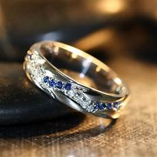 14k white gold diamond and sapphire wedding ring band unique anniversary ring other metals