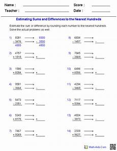 13 best images of rounding numbers worksheets grade 4 estimating sums and differences