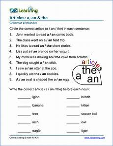 article worksheets for elementary school printable free k5 learning