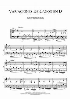 free sheet music pachelbel johann variation canon
