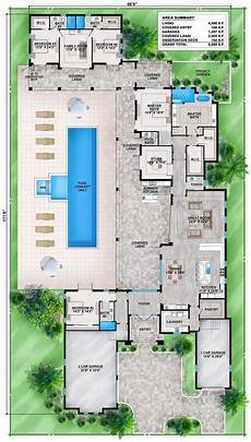 house plans with pools in the middle shaped house plans pool middle and outdoor kitchen