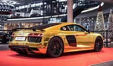 audi r8 gold one gold audi r8 v10 plus showcased in germany motoroids