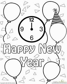 new year clock celebration coloring page worksheet education com