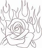Rose Flame Flowers Coloring Pages Free Printable