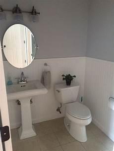 bathroom clean bright bead board pedestal sink benjamin moore bunny gray bathroom small