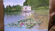 maison et reflet peinture acrylique paysage peindre un 233 tang