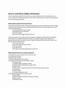 7 divorce worksheet exles pdf exles