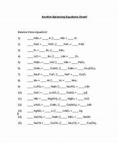 sle balancing equations worksheet templates 9 free
