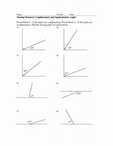 missing measures complimentary and supplementary angles worksheet for 4th 6th grade lesson