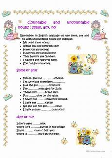 countable and uncountable nouns some any no worksheet