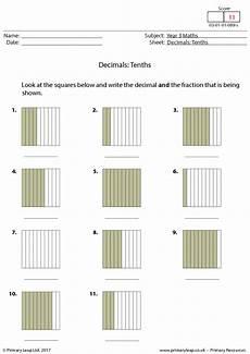 fraction worksheets for primary 3 3827 decimals tenths