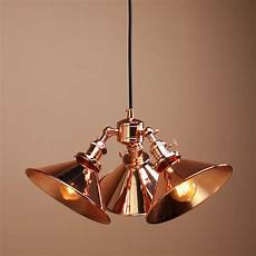 three headed vintage industrial copper hanging pendant light shade ceiling l ebay